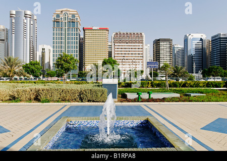 Coastal street Corniche in Abu Dhabi City, Emirat Abu Dhabi, United Arab Emirates, Asia - Stock Photo