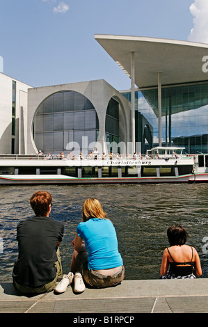 Tourists looking towards Marie-Elisabeth-Lueders Haus, Regierungsviertel, government quarter, Berlin, Germany, Europe - Stock Photo