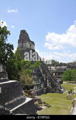Temple 1, Temple of the Great Jaguar, Plaza Mayor, Mayan ruins, Tikal, Guatemala, Central America - Stock Photo