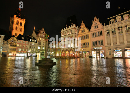 Main market square, the St, Gangolf Church, the market cross and the Steipe in the Roman town Trier, Rhineland-Palatinate, - Stock Photo