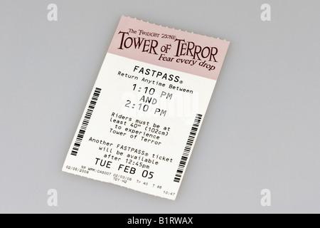 Tower of Terror Fast Pass, MGM World Disney Studios, Orlando, Florida, USA - Stock Photo