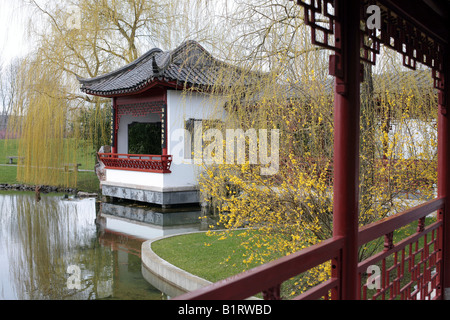 Calm Moonlight Pavilion in the Chinese Garden, Gaerten der Welt, Gardens of the World, Berlin Marzahn, Germany, - Stock Photo