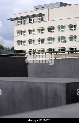 US embassy in Berlin behind the concrete slabs of the Monument to the Murdered Jews of Europe, Germany, Europe - Stock Photo