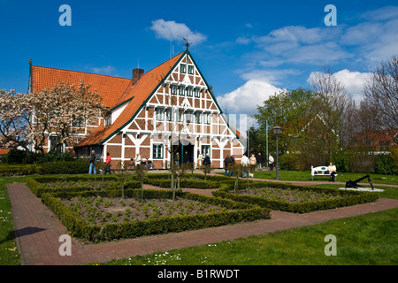 Historic timber framed, timber-frame town hall, Jork, Altes Land, Lower Saxony, Germany, Europe - Stock Photo