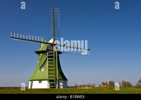The Erdhollaender, an historic Dutch windmill near Wittmund, East Friesland, Lower Saxony, Germany, Europe - Stock Photo