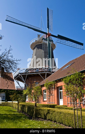 Historical windmill build in typical Dutch style with the fantail at the back, husking mill, Esens, East Frisia, - Stock Photo