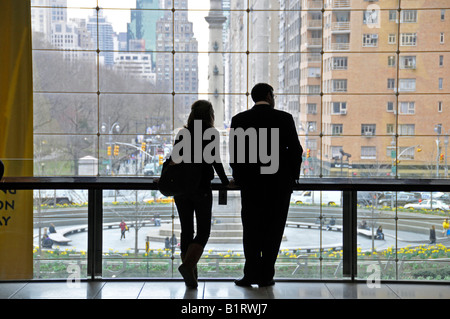 View of Columbus Circle from the Time Warner Center, Manhattan, New York City, USA - Stock Photo