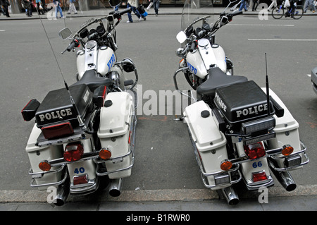 Harley Davidson police motorcycles of the New York Police Department, NYPD, Manhattan, New York City, USA - Stock Photo