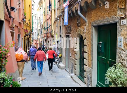 Narrow alley in Vernazzo, Liguria, Cinque Terre, Italy, Europe - Stock Photo