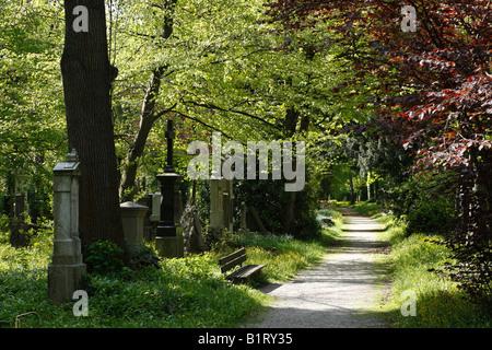 Alter Suedlicher Friedhof, Old Southern Cemetery, Isarvorstadt, Munich, Bavaria, Germany, Europe - Stock Photo