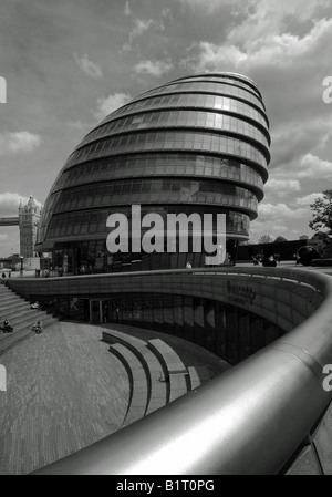 London City Hall in black and white in portrait (landscape version available) - Stock Photo