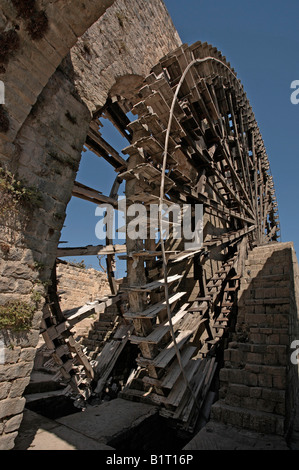 Syria Hama Noria irrigation wooden waterwheel on the Orontes river - Stock Photo