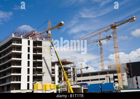 An apartment block being built in Belfast`s Titanic Quarter - Stock Photo