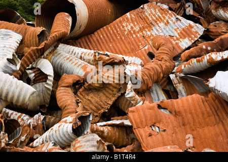 Salvaged 'galvanized'  culverts. - Stock Photo