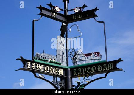 Lavenham Village Sign, Suffolk England UK - Stock Photo