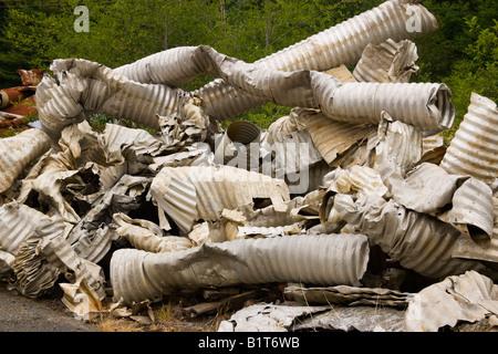 Salvaged Aluminum  culverts. - Stock Photo