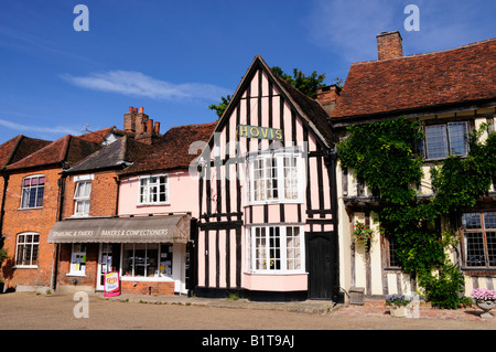 Shops on the Market Square Lavenham Suffolk, England UK - Stock Photo