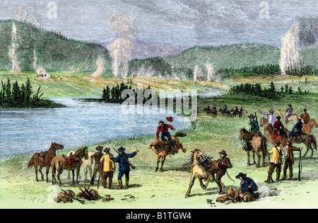 Tourists visiting Great Geyser Basin in Yellowstone National Park 1880s. Hand-colored woodcut - Stock Photo