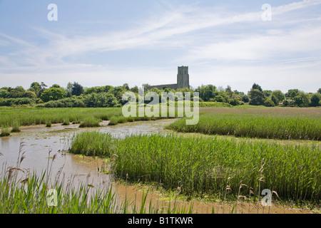 River Blyth and Blythborough Church Suffolk - Stock Photo