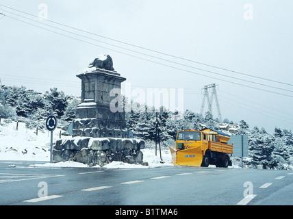 Snow plough at Guadarrama mountain pass. Madrid province. Spain. - Stock Photo