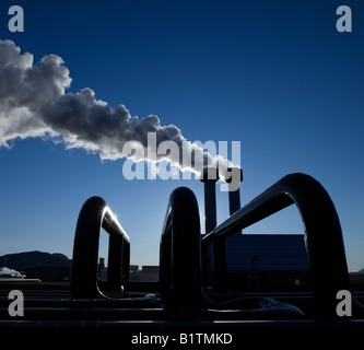 Geothermal Pipes with Steam at Hellisheidi Geothermal Power Plant - Stock Photo