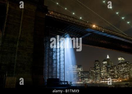 Brooklyn NY 30 June 2008 The New York City Waterfalls by Danish Artist Olafur Eliasson, foot of the Brooklyn Bridge - Stock Photo