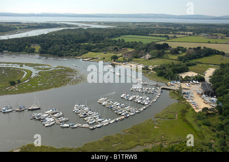 Aerial view of Beaulieu River showing Bucklers Hard marina - Stock Photo