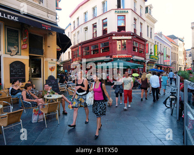 City center of Antwerp Belgium at the end of the afternoon with lots of people - Stock Photo
