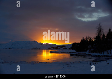 Sunset at Thingvellir National Park, Lake Thingvellirvatn, Iceland - Stock Photo
