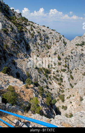 On the path through the Kako Perato Canyon on the island of Samos in Greece. - Stock Photo