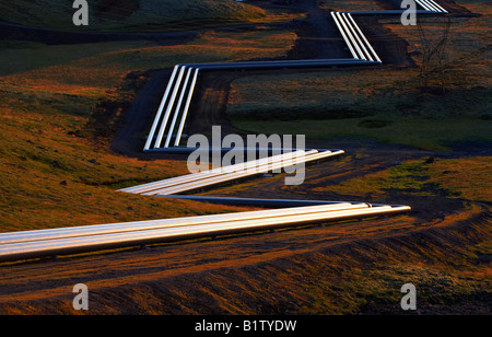 Geothermal Pipes at Hellisheidi Geothermal Power Plant, Iceland - Stock Photo