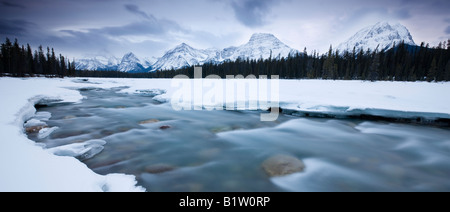 Canada Alberta Jasper National Park Rocky mountains viewed over Athabasca river - Stock Photo