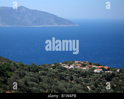 Small village of Paleochori in the west of the island of Samos in Greece. - Stock Photo