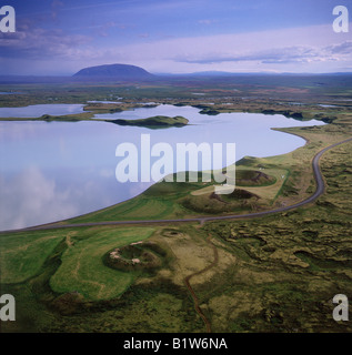 Pseudocraters at Lake Myvatn Iceland - Stock Photo