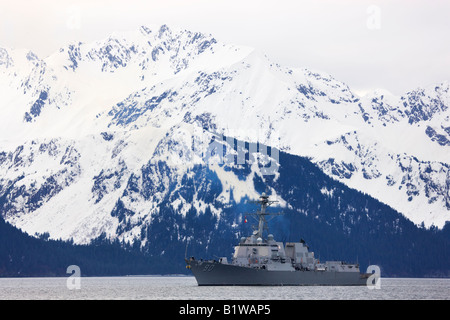 The guided missile destroyer USS Chaffee 90 Seward Alaska - Stock Photo
