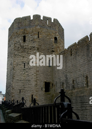 Caernarfon (Carnarvon) Castle, fortress built by Edward I begun in 1283, Gwynedd, Wales - Stock Photo