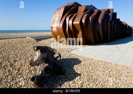 ENGLAND West Sussex Littlehampton Rusted metal seafood restaurant by architect Thomas Heatherwick on promenade with - Stock Photo