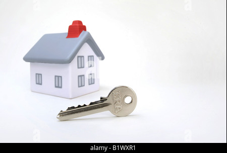 MODEL HOUSE WITH  FRONT DOOR KEY,UK,BRITISH. - Stock Photo