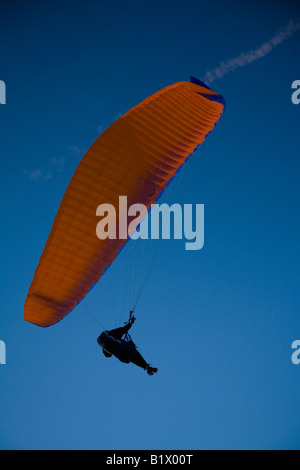 Paraglider paragliding over Porthmeor beach at sunset in summer St Ives Cornwall England GB Great Britain UK United - Stock Photo