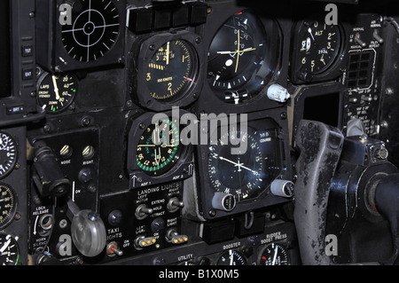 Airplane instrument panel showing pilot controls including navigation equipment, landing gear switch and control - Stock Photo