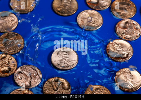 Us 1 One Cent Water Reflection Abstract Blue Concept Currency