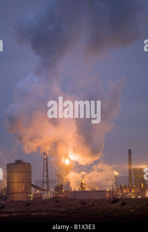 British Steel Industry Plant industrial site Coke Ovens. Steelworks emitting steam plume at Middlesbrough, Redcar, - Stock Photo