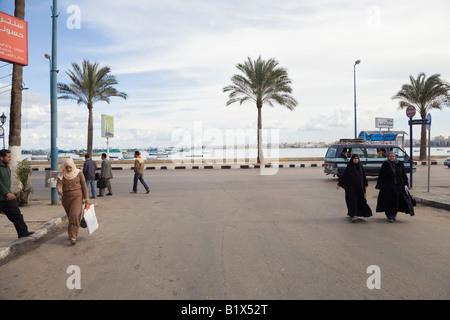 Alexandria, Egypt, Noth Africa.  Street scene Eastern Harbour Mediterranean Sea in distance - Stock Photo