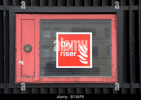 red dry riser sign in london uk - Stock Photo