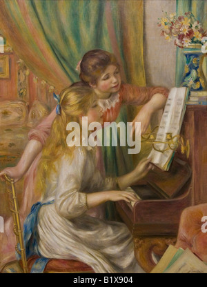Jeunes filles au piano Girls at the Piano painted 1892 Pierre-Auguste Renoir oil on canvas Musee D'Orsay D Orsay - Stock Photo