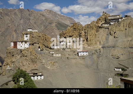 View of Dhankar village (3890m), monastery and fort. Spiti valley, Himachal Pradesh. India, Asia. - Stock Photo