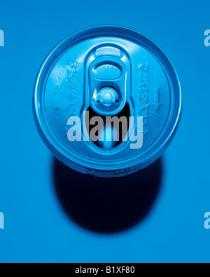 Top view of metal soda can - Stock Photo