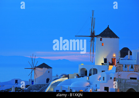 Windmill in Oia village on Santorini island - Stock Photo