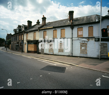 Derelict houses in Silver Street, Reading city, Berkshire, England, UK. - Stock Photo