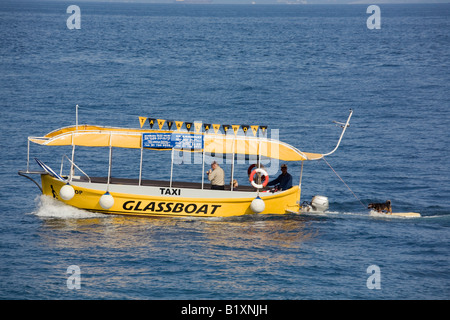 Opatija Istria Croatia Europe May Tourist Glassboat water taxi towing dog on surf board in sea on Kvarner coast - Stock Photo